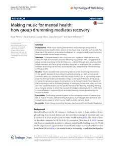 Making music for mental health: how group drumming mediates